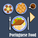 Portuguese national cuisine food and desserts Royalty Free Stock Photos