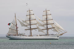 Portuguese navy training tallship Sagres III. Portuguese  navy training ship is a steel-built three masted barque, with square sails on the fore and main masts Stock Photography