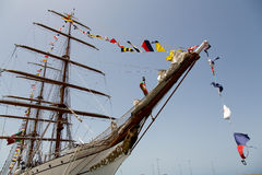 Portuguese navy training tallship Sagres III, Praia, Cape Verde Stock Photo