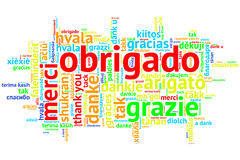 Portuguese Obrigado, Open Word Cloud, on white Royalty Free Stock Images