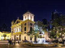 Portuguese old town colonial church in central macao macau china. Portuguese old town colonial church square in central macao macau china Stock Photos