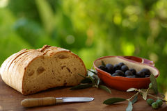 Portuguese olives and bread, Stock Photos