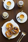 Portuguese Pasteis de Nata and Espresso Stock Photo