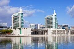 Portuguese Pavilion (Pavilhao de Portugal), and Sao Gabriel (L) and Sao Rafael (R) Towers Royalty Free Stock Photo