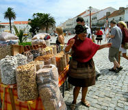 Portuguese peddler. Nazare. Royalty Free Stock Photos