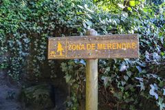 Portuguese Picnic zone sign. On a park stock photography
