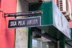 Portuguese placard Keep right stock photos