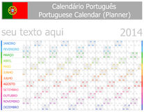 2014 Portuguese Planner-2 Calendar with Horizontal Months. On white background Stock Photos