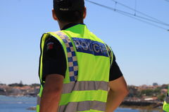 Portuguese Policeman. Working for Lisbon safety Royalty Free Stock Photo