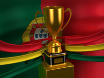 Portuguese Republic flag with gold cup Stock Image