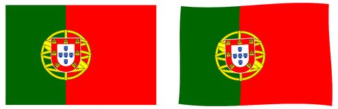 Portuguese Republic Portugal flag. Simple and slightly waving. Version stock illustration