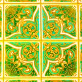 Portuguese Retro Glazed Tiles With Geometrical Pattern, Handmade Azulejos, Portugal Street Art, Abstract Background Stock Photography