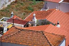 Portuguese rooftops, Silves, Portugal. Elevated view of traditional Portuguese building rooftops seen from the castle, Silves, Portugal, Europe Royalty Free Stock Image