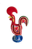Portuguese rooster. Ceramic rooster symbol of portugal, handmade traditional statuette Royalty Free Stock Photography