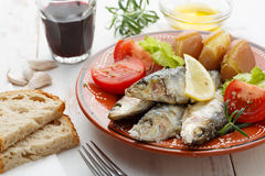 Portuguese sardines cooked with salt Royalty Free Stock Images