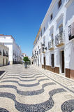 Portuguese sidewalk in square of Olivenza city Stock Image