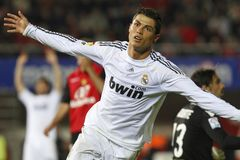Cristiano Ronaldo after scoring a goal stock images