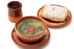 Portuguese soup caldo verde with bread Royalty Free Stock Photos