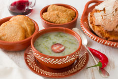 Portuguese soup caldo verde in ceramic dish Stock Photos