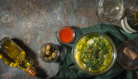 Portuguese soup Caldo Verde on the stone background horizontal Stock Photo