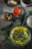 Portuguese soup Caldo Verde on the stone background top view Royalty Free Stock Photos
