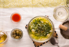 Portuguese soup Caldo Verde on the white tablecloth top view Stock Image
