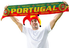 Portuguese sports fan. Holding a banner, isolated on white Royalty Free Stock Photos
