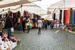 Portuguese street market on rainy day stock image