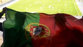 Portuguese supporters waving national flag, cheering for football team victory. Stock photo royalty free stock image