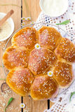Portuguese sweet bread Hawaiian sweet rolls. With sesame seeds stock photo