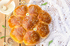 Portuguese sweet bread Hawaiian sweet rolls. With sesame seeds royalty free stock images