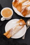 Portuguese sweet dessert with cup of coffee Royalty Free Stock Photo