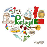 Portuguese symbols in heart shape concept Royalty Free Stock Photo