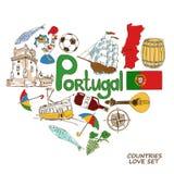 Portuguese symbols in heart shape concept Royalty Free Illustration