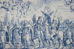 Portuguese tile. Panel of portuguese tiles from the early XX century royalty free stock photo
