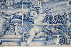 Portuguese tile. Panel of portuguese tiles from the early XX century Stock Images