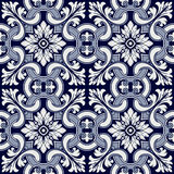 Portuguese tile vector pattern. Portuguese style vector pattern texture Royalty Free Stock Photo