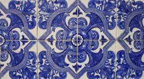 Portuguese tiles. Vintage portuguese blue tiles background stock photo