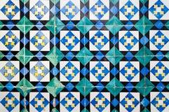 Portuguese tiles. Ornamental Portuguese tiles (Azulejos) at a facade in Lisbon, Portugal Royalty Free Stock Photos