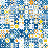 Portuguese tiles. Seamless mosaic pattern made of llustrated tiles - like Portuguese tiles royalty free illustration