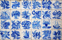 Portuguese Tiles. Pattern of Portuguese ancient hand-painted tiles Stock Image