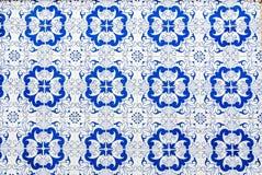 Portuguese Tiles. Artistic pattern of  worn blue Portuguese tiles Stock Photo