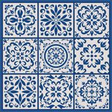 Portuguese tiles with azulejo ornaments. Blue and white ornate Portuguese tiles. Traditional azulejo patterns. Simple mandala ornaments. Set of ornamental royalty free illustration