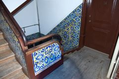 Portuguese tiles Azulejo - the stairwell of the house Stock Image