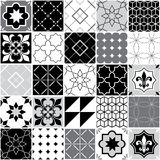 Portuguese tiles Azulejos, seamless vector tile pattern, geometric and floral design - black, white and grey patchwork Stock Images