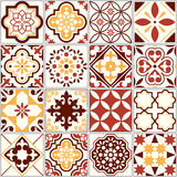Portuguese  tiles, Lisbon art pattern, Mediterranean seamless ornament in brown and yellow Royalty Free Stock Photography