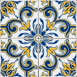 Portuguese tiles. Old typical portuguese tiles called azulejos taken from the external walls of an old house in Lisbon royalty free stock photo
