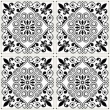 Portuguese tiles pattern - Azulejo black and white design, seamless  blue background, vintage mosaics set Stock Photography