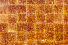 Portuguese Tiles. Pattern of Portuguese tiles brown and yellow Stock Photos