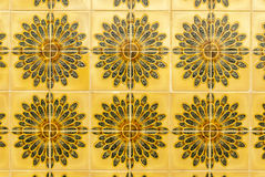 Portuguese Tiles. Pattern of Portuguese tiles brown and yellow Royalty Free Stock Image